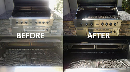 A grill cleaner with a before and after pic of a clean grill.