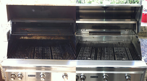 Before and after of grill cleaner near Palm Springs CA.