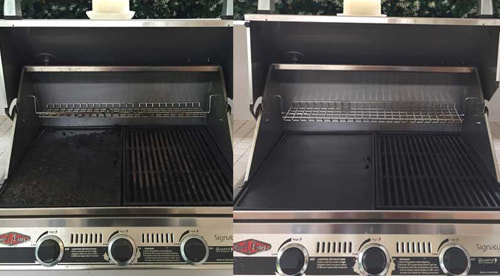 BBQ grill being cleaned by a professional grill cleaning service in Palm Springs CA.
